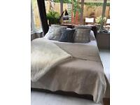 Stylish tan leather bed frame king size