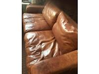 Tan Leather 3 seater sofa for sale and collection