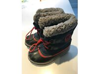 Size UK11 (EUR29) V good condition blue snow boots with red pull-to lace.