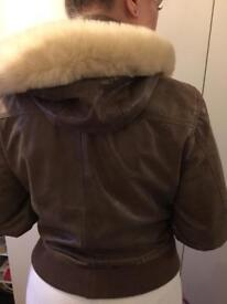 Leather women's coat