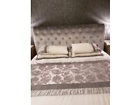 Super Kingsize Silver Velvet Bed
