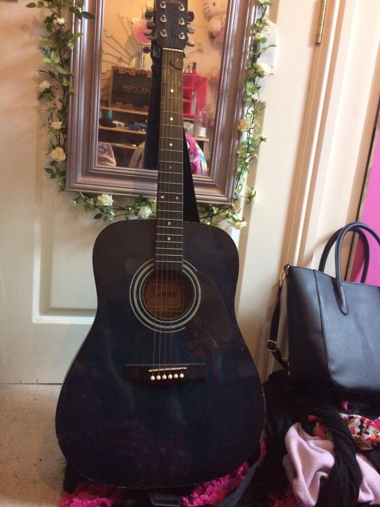 Dark Blue And Black Encore Acoustic Guitar