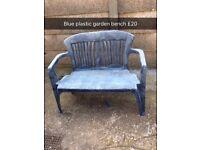 Blue solid garden bench