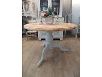 Shabby chic solid pine farmhouse style dining table for 4-6 seats