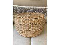 Large Round Rattan Storage Basket With Lid