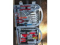 Hand tool set in carry case with extra storage compartments