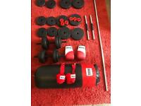Punching Bag Set and Free Weights (37.5kg) Bargain Fitness Bundle £75 OR NEAREST OFFER