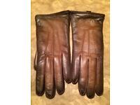 Prada Brown Leather Gloves