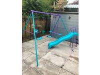 Children's swing seesaw and slide set