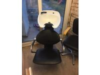 Hairdressing chair and. Wash basin