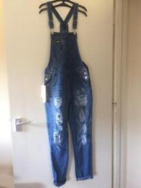 Women's ripped dungarees size 8