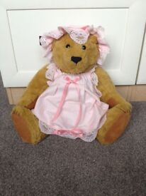The Bears of Haworth Cottage- Teddy Bear in pink dress and hat.