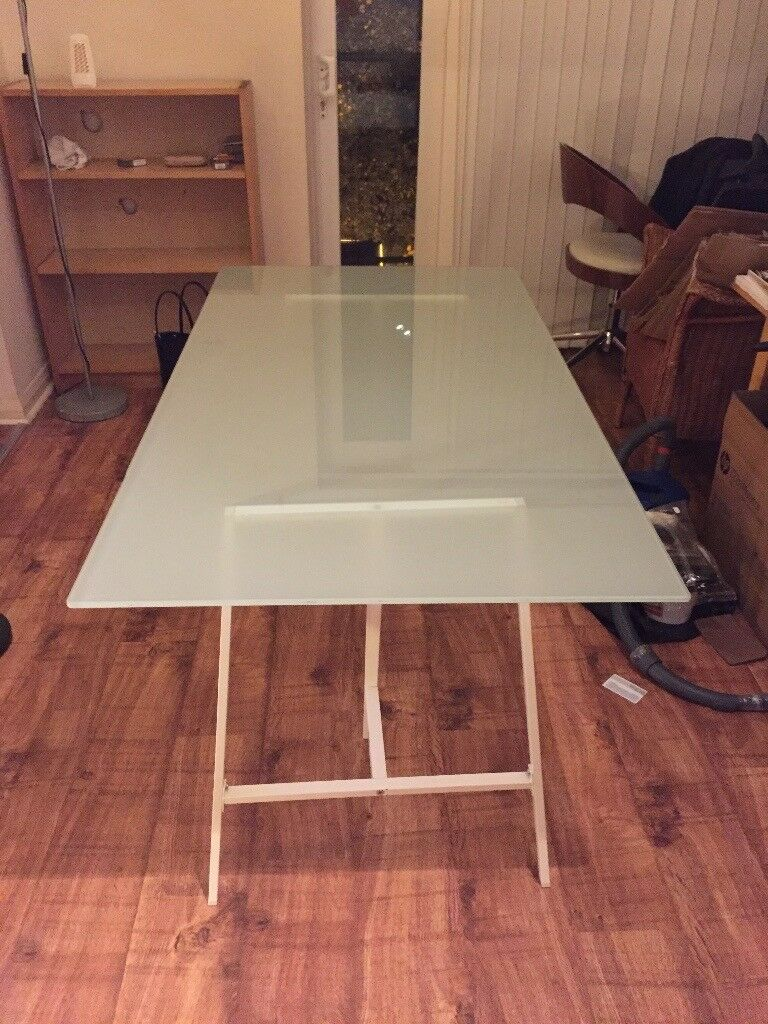 Ikea Toughened glass dining table office table with trestles £40
