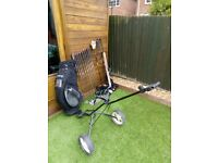 Full set of LEFT HANDED golf clubs, bag and trolly