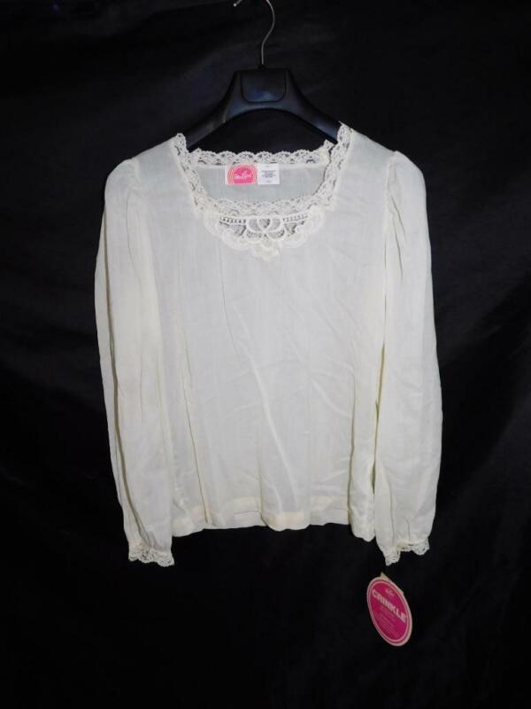 Vintage 70s Miss Capri S NWT Ivory Cream Lace Blouse Victorian Peasant NOS Sm