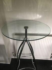 Glass bar table & stool