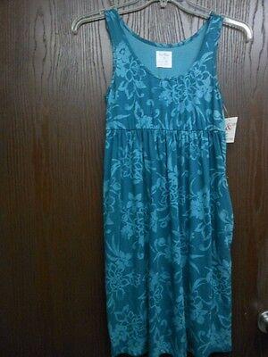 Flower Cotton Dress (SUNDRESS W FLOWERS BLUE COTTON BLEND DRESS 2 SIDE POCKETS REGULAR)