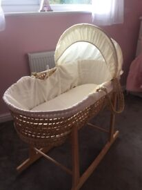 Cream Moses basket and wooden stand