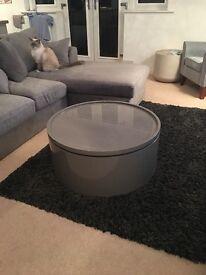 Dwell Drum Lift Coffee Table - Stone Colour - Storage Table