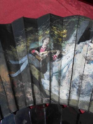 Eventail epoque art nouveau, ecaille et tissu peint par