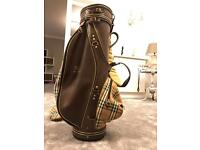 Stunning Vintage Genuine leather and fabric Burberry Golf Club Bag With Original Strap And Cover