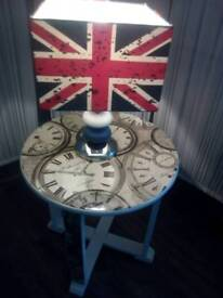 Bargain retro lamp table and union jack lamp