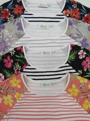 New D & Co Striped Floral 3/4 Sleeve Cotton Shirt Top Womens Choose Color + Size