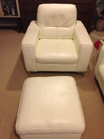 White leather 2seater sofa, armchair, footstool