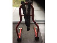 Rear paddock stand with stealth chain and lock