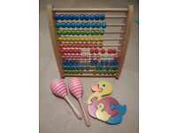 Wooden toy bundle, elc classics abacus, puzzle, shakers