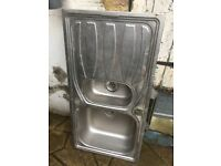 Stainless steel double kitchen sink and drainer