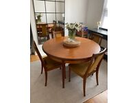 Mid-Century Round Extendable Dining Table With 4 x Mustard Velvet Dining Chairs