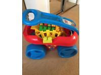 Mega Blocks Play and Go Wagon and Lego Duplo Train
