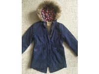 Girls Blue Winter Coat Jacket From Mothercare - Age 5-6 - Kids Childrens Clothes