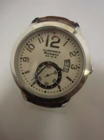NEW Men's Wristwatch Globenfeld Leather Masterpiece, Brown Strap, White Face