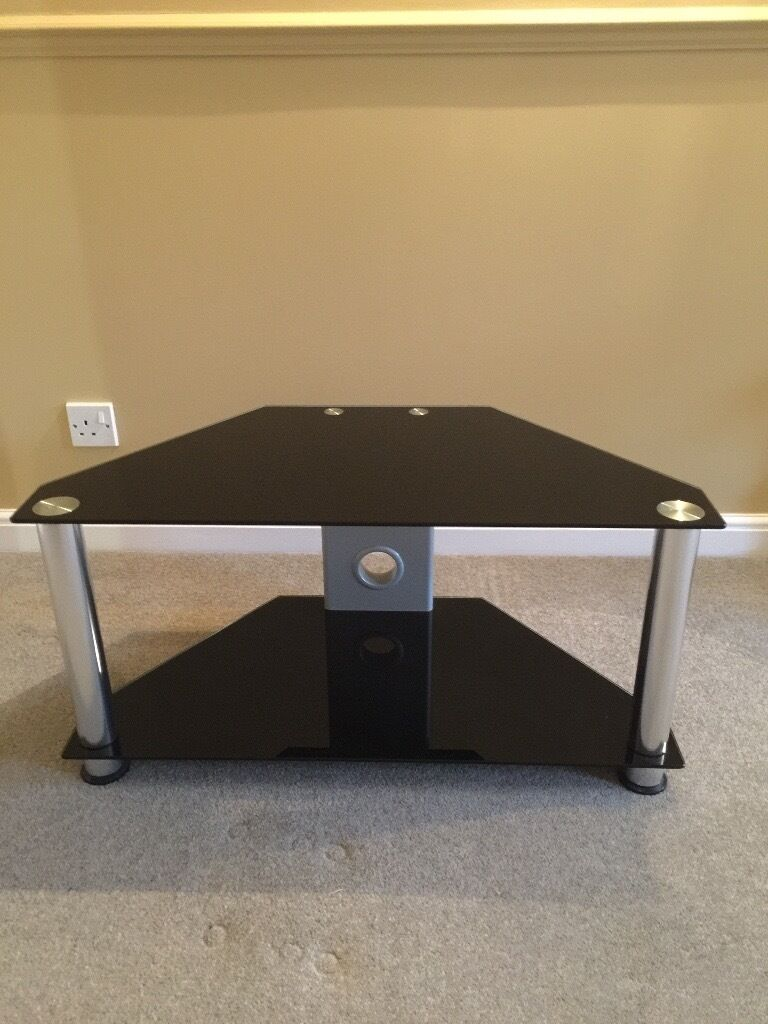 2 Tiered Black Tempered Glass TV Stand