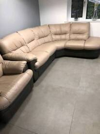 Quality Italian leather 5 seater corner sofa and electric reclining chair