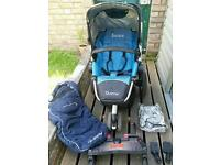 Quinny Buzz Travel System/ Pram, incl. Buggy Board, Maxi Cosy adapter, raincover, footmuff, bag