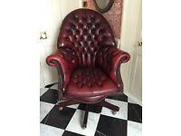 Chesterfield Oxblood Leather Directors Chair