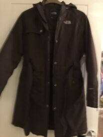 Brown North Face coat with attachable hood
