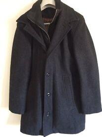 Mens Black Austin Reed Wool/Cashmere Coat Size S
