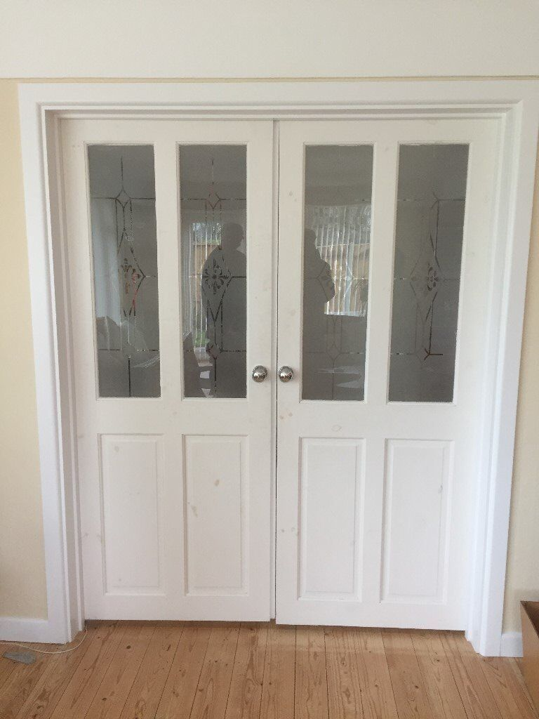 Internal Double Doors Half Glazed White In West
