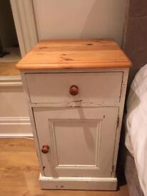 Solid pine shabby chic bedside tables x2