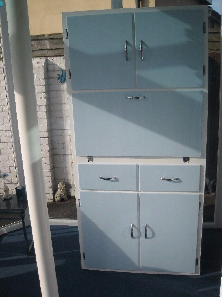 Vintage Retro 50s/60s Kitchen Dresser/Larder unit – Blue/white ...