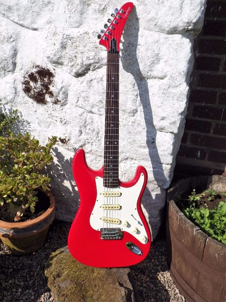 *Sold* 1990 Gibson Epiphone S-310 Stratocaster Korean Made Red with hockey  stick