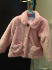 Girls pink fur coat aged 2-3
