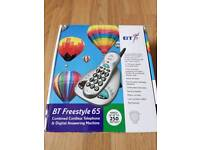 BT BRAND NEW FREESTYLE 65 CORDLESS BIG BUTTON TELEPHONE WITH DIGITAL ANSWERING MACHINE
