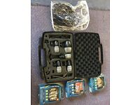 Shure mic drum set 4 x PG56 with A50D Drum Mounts and Case