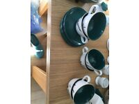 DENBY VINTAGE GREENWHEAT DESIGN CUPS SAUCERS