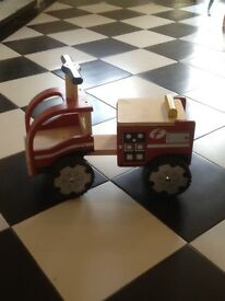Wooden ride on fire engine